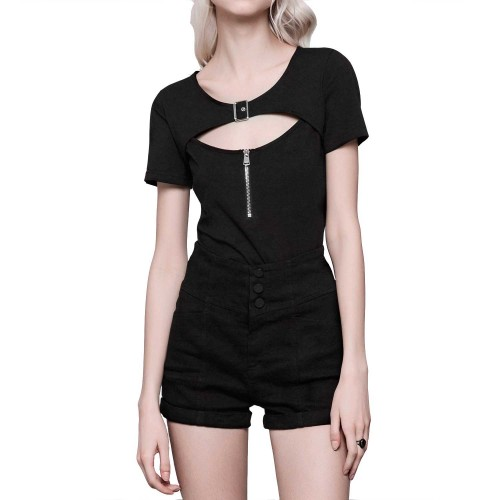 T-Shirt with Buckle and Zipper