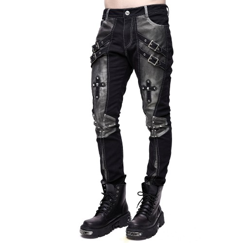 Bronce-Coloured Pants with Crosses for Men